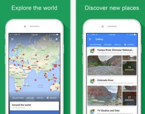 Google camera app wordt Google Street view app met directe verbinding Ricoh Theta