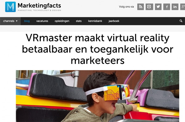 Artikel over VRmaster op Marketingfacts November 2015