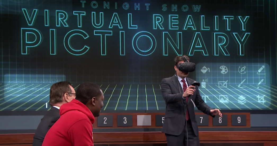 Virtual Reality Pictionary with Jimmy Fallon with Andrew Rannells and Michael Che