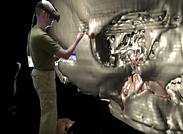 Using virtual reality to examine a 3D scan of a skull