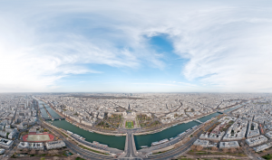 paris in birds eye view in virtual reality